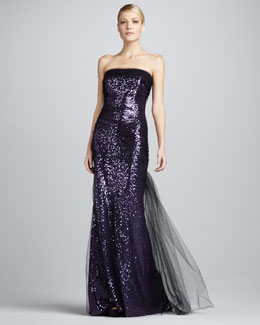 Badgley Mischka Sequined Mesh-Overlay Gown
