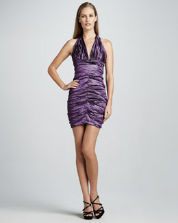 Nicole Miller Halter Ruched Cocktail Dress