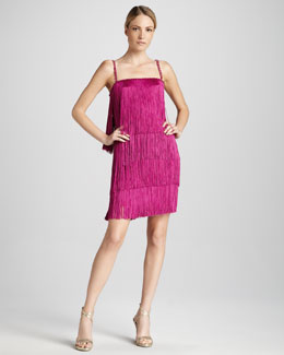 Notte by Marchesa Fringed Cocktail Dress with Spaghetti Stripes