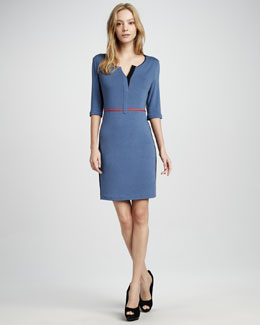 Phoebe Couture Split-Neck Knit Dress