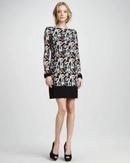 Phoebe Couture Geo-Print Long-Sleeve Jersey Dress