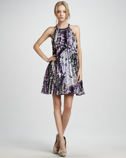 Phoebe Couture Printed Halter Cocktail Dress