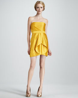Shoshanna Orly Strapless Pleated Silk Dress