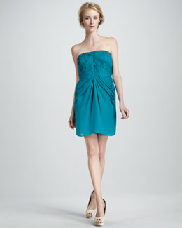 Shoshanna Nahla Strapless Ruched Dress
