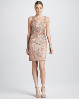 Sue Wong Beaded Cocktail Dress with Deep V Back
