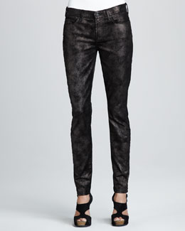 7 For All Mankind Skinny Moon Metal Black Velvet Jeans