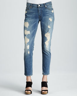 7 For All Mankind Josefina Luminous Light Destroy Skinny Boyfriend Jeans
