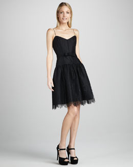 ML Monique Lhuillier Lace-Overlay Cocktail Dress