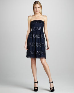 ML Monique Lhuillier Strapless Sequin-Stripe Cocktail Dress