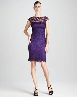 ML Monique Lhuillier Bateau-Neck Lace Cocktail Dress