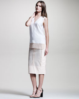 Reed Krakoff Python/Leather Skirt