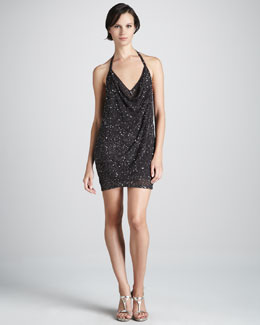 Haute Hippie Sequined Halter Dress