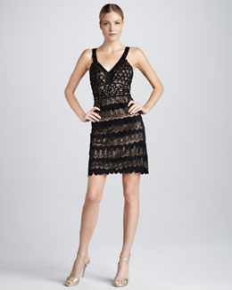 Sue Wong Sleeveless Lace Cocktail Dress