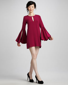 Elizabeth and James Mabel Bell-Sleeve Shift Dress, Raspberry