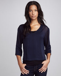 B. Vintage Dark Navy V Neck Top