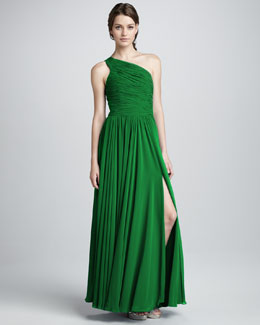 Halston Heritage One-Shoulder Gathered Gown, Emerald