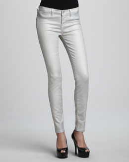 J Brand Jeans Coated Metallic Jeggings, Stone Bullet