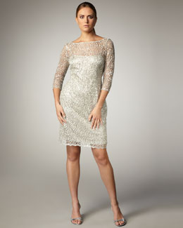 Kay Unger New York Illusion-Sleeve Beaded Dress