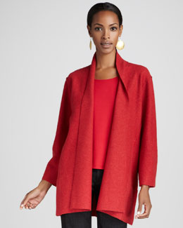 Eileen Fisher Lightweight Boiled Wool Coat, Garnet