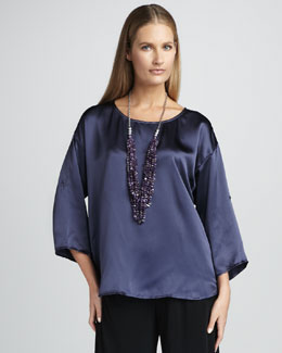 Eileen Fisher Hammered Satin Top