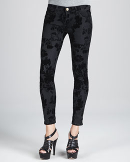 Current/Elliott The Low-Rise Skinny Ankle Jeans, Black Velvet Floral