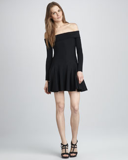 Halston Heritage Off-The-Shoulder Dress, Black