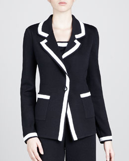 St. John Boyfriend One-Button Blazer, Black/White
