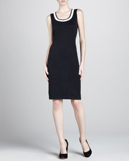 St. John Santana Contrast-Trim Dress, Black/White