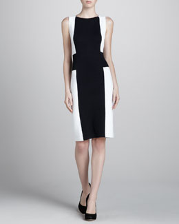 St. John Cross Colorblock Dress, Black/White