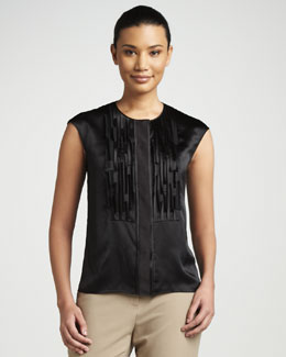 Magaschoni Laser-Cut Silk Top