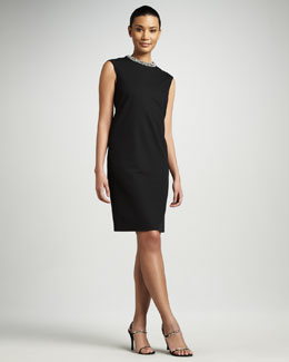 Magaschoni Jeweled Collar Sheath Dress