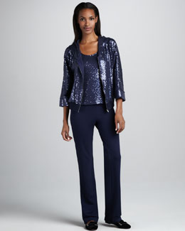Neiman Marcus Sequined Bomber, Top & Pants Set