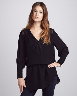 Beyond Vintage Lace-Trim Flowy Tunic