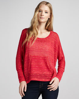Splendid Norwegian Loose Slub Sweater, Fuchsia