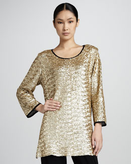 Caroline Rose Classic Sequined Mesh Tunic