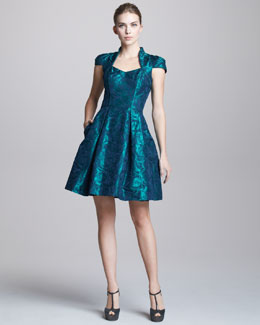 Theia Floral-Jacquard Cocktail Dress