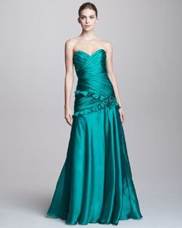 Theia Strapless Ruched Gown