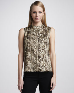 T Tahari Krystle Animal-Print Contrast-Back Blouse