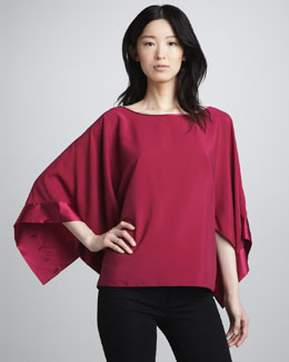 Ramy Brook Pippa Sheer-Top Long-Sleeve Blouse
