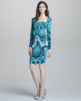 Just Cavalli Snake-Print Long-Sleeve Dress