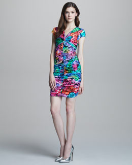 Just Cavalli Ruched Rose-Print Cap-Sleeve Dress