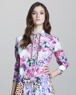 Just Cavalli Three-Quarter Sleeve Floral-Print Shirt