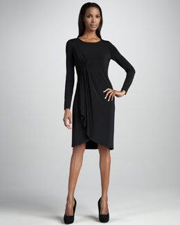 Lafayette 148 New York Side-Draped Jersey Long-Sleeve Dress