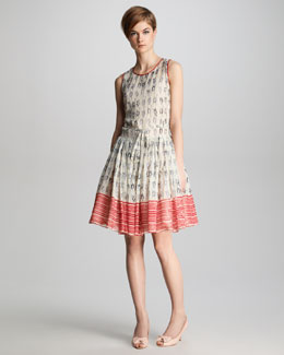 RED Valentino Knot-Print Georgette Dress