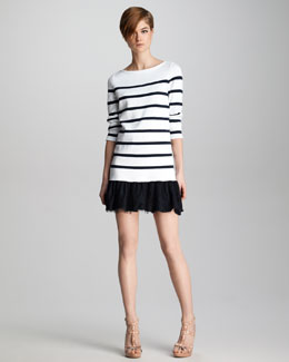 RED Valentino Lace-Hem Striped Knit Dress
