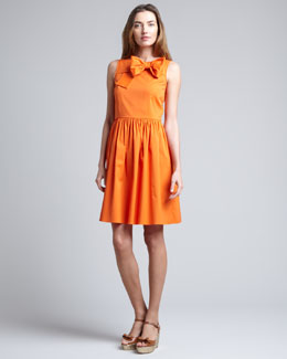 RED Valentino Front-Bow Full-Skirt Dress, Mandarin