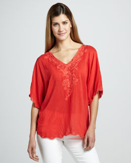 Johnny Was Collection Lacey Rosey V-Neck Top