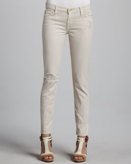 7 For All Mankind The Slim Cigarette Distressed Jeans, Sand Dune