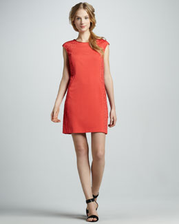 Phoebe Couture Laser-Cut Cap-Sleeve Dress