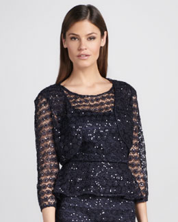 Kay Unger New York Sequined Lace Bolero
